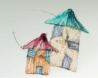 Home Jewelry, large, house brooch, wire sculpture art to wear, rainbow, modern hippie, house jewelry, new mom gift, Summer, architect gift