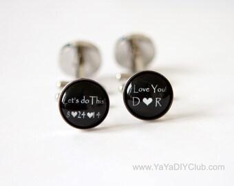 Grooms Gift from bride, Wedding Cufflinks for Groom Cuff Links, Custom Cufflinks, Personalized Cufflinks Groom Gift