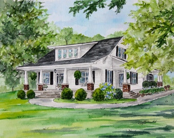 House Portrait for Anniversary Gift for Parents, Custom House Illustration for Wedding Gift Personalized, Custom House Painting from Photo