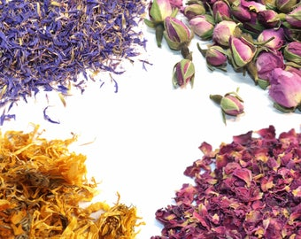 Dried Flowers - 36 Types Of Botanicals  - Natural, Edible Flowers, Culinary Grade, Tea, Edible Petals, Infusion, Dried Petals Flowers, Decor