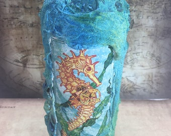 Turquoise Nautical Graphic 45 Upcycled Bottle Decoupage Voyage Beneath the Sea Seahorse
