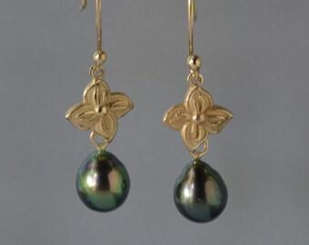 Tahitian Pearl Earrings, 14k Yellow Gold Flower and Black Tahitian Pearls Earrings, Natural Tahitian Pearls Drop Earring, June Birthstone