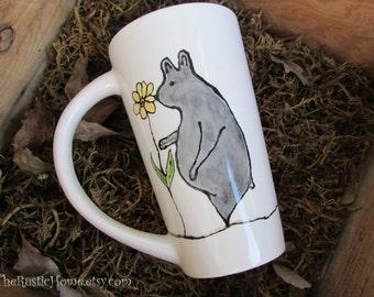 Bear lover tall ceramic pottery mug coffee mug latte sunflowers made to order 16 ounce mug tea black or brown bear