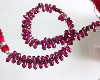 8-inch AAA quality Natural Rhodolite Garnet faceted teardrop size 6.5-7mm 64cts GW1361