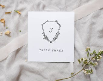 Emblem Crest Table Numbers / Organic Wedding Table Number Cards