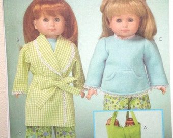 DOLL Clothes Pattern McCalls 5019 Robe, Pajamas,Tote, Sleeping Bag, Slippers 18 inch doll