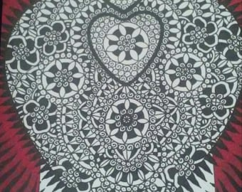 Black and White Triple with Red Border Heart Pen and Ink Drawing