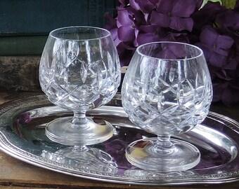 Gorham Lady Anne Brillant Cut pleine plomb cristal whisky verres ensemble de 2 petites Brandy coupes verres à boisson