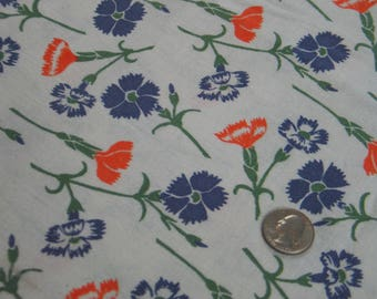 """Vintage Novelty FEEDSACK Flour Sack Cotton Fabric - Purple/Orange Flowers on White Backgroud - 37.5 x 40"""" Quilt Sewing Doll Clothes"""