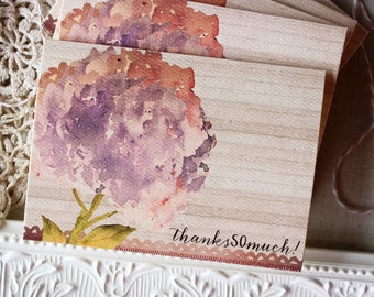 hydrangea thank you note set - watercolor thank you note cards - rustic thank you notecards