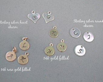 Add On Initial Charm, Sterling Silver Heart or Round Charm, 14k Rose Gold Filled, 14k Gold Filled,  Hand-stamped Initial