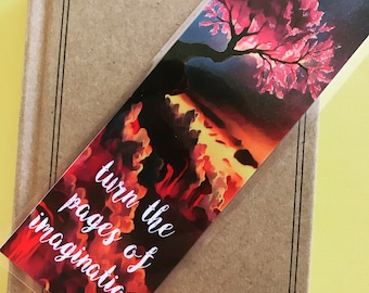 Turn the Pages of Imagination Quote Bookmark, Red Graphic Laminated Bookmark, Fantasy Books, Beautiful Bookmark, Reading Gift, Teacher Gift