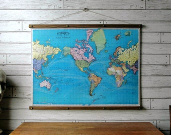 World Map 1897 / Vintage Pull Down School Map Chart Reproduction / Canvas Fabric Print / Oak Wood Hanger with Brass Hardware / Wall Hanging