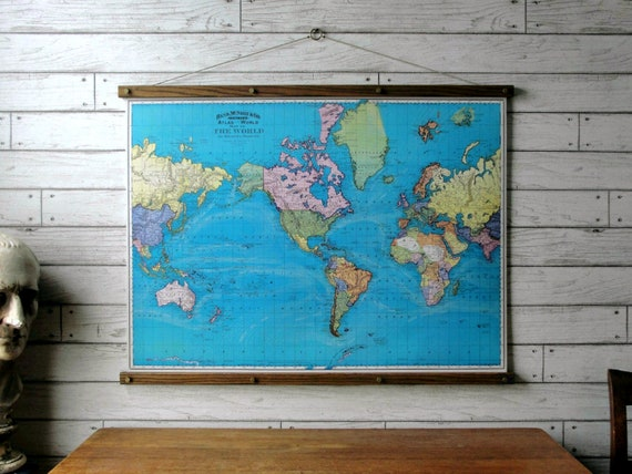 World map 1897 vintage pull down school map chart world map 1897 vintage pull down school map chart reproduction canvas fabric print wood poster hanger with brass hardware wall hanging gumiabroncs Images