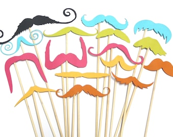 Photo Booth Props - Set of 16 Bright Moustaches Photo Booth Props