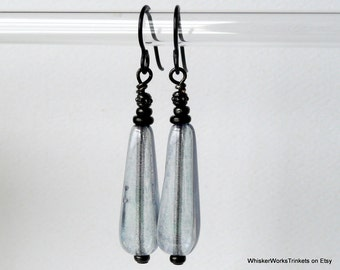 Teardrops: Rustic Drop Earrings -- Square Teardrops -- Blue-Gray Luster Earrings -- Niobium Earwires