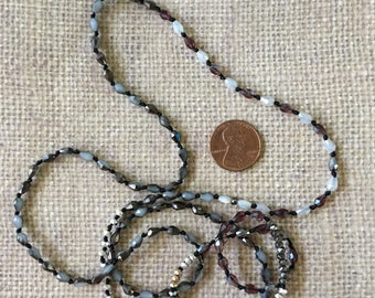 Necklace Knotted Boho Long Multi Colored Gray Tiny Bead Mix and Match Jewelry Supply