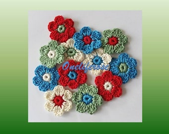 Crochet Flowers 12 pcs 1950s colors