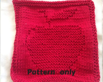 PATTERN - dishcloth / washcloth knitting pattern - Apple