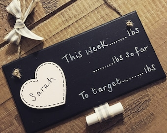 Personalised diet weight loss chalkboard countdown plaque sign lbs lost aim slimming world tracker motivation