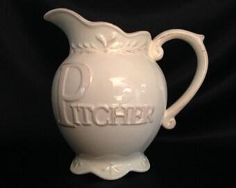 D'Moda Italy Design Romance Collection Pitcher/Italian Pottery/D'Moda Ceramic/Romance Collection/D'Moda Romance Collection/Beige Pitcher