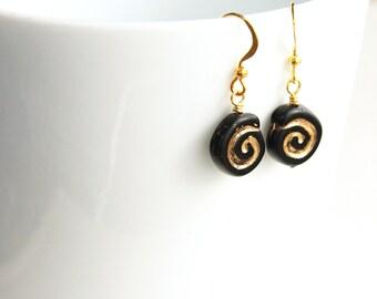 Statement Jewelry Cute Little Black Earrings Gold Earrings Spiral Earrings Artisan Glass Earrings Greek Geometric Earrings Gift for woman