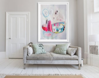 "ABSTRACT painting, giclee print, pink, white, blue, modern painting ""Ropes and Tables"""