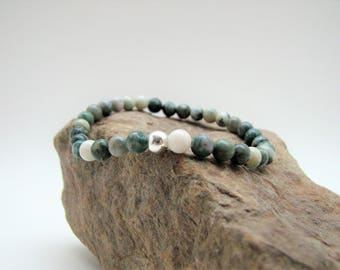 Ching Hai Jade and Sterling Silver Beaded Stretch Bracelet