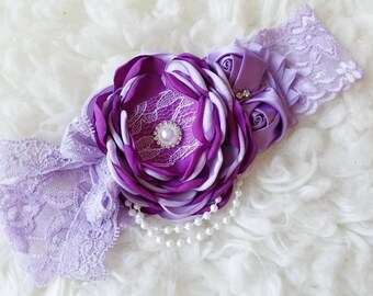Purple lavender  Couture Baby girl headbands, chic couture, vintage headband, newborn headband, Photo prop