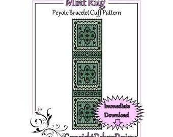 Bead Pattern Peyote(Bracelet Cuff)-Mint Rug