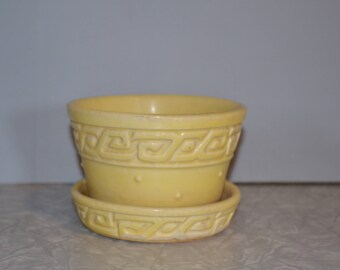 McCoy Yellow Greek Key Planter ~ Small Pottery Flower Pot