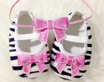 Zebra Print Baby Girl Soft Sole Shoes with Headband Set