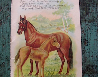 VINTAGE CHILDS BOOK PAGE..1927..BABY ANIMALS ..HORSE, MOTHER HEN, CHARMING