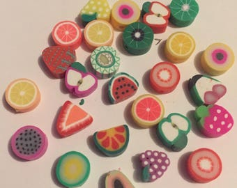 Set of 20 x 8mm polymer clay mini fruit beads