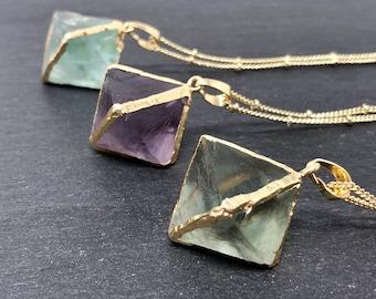 Fluorite Crystal Necklace, 14K Gold Fluorite Crystal Boho Necklace