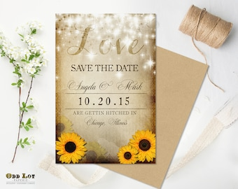 Sunflower Save the Date Rustic Save the Date Rustic Sunflower Printable Wedding Announcement Twinkling Lights LOVE Country Rustic Chic
