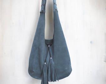 leather hobo bag with adjustable handle, large suede crossbody, italian leather bag