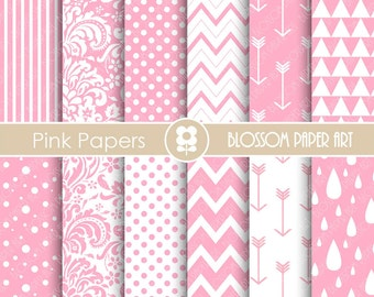 Digital Paper Baby Girl Pink Digital Paper Pack, Pink Scrapbooking Paper, Scrapbook Baby Girls - INSTANT DOWNLOAD - 1662