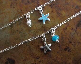 Bracelet de cheville petite étoile de mer avec Pierre et une touche d'argent émail
