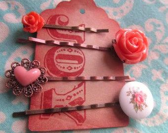 Coral with holiday gift tag -coral heart, white rose round cameo, coral rose, big coral rose bobby pin 4pcs chose your own