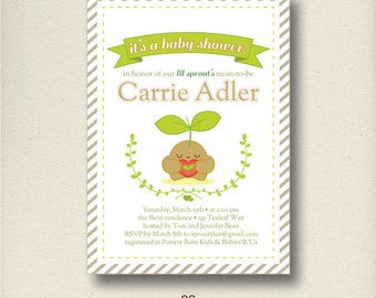 Little Sprout Baby Shower Invitation | PRINTABLE Lil Sprout Announcement Invite | Personalized | PDF or JPG