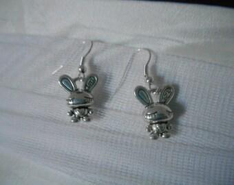 Rabbit necklace in silver metal earring