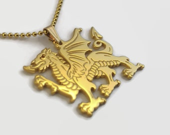 24 Carat Gold Plated Welsh Dragon Necklace - Celtic Dragon Jewellery - An engraved Welsh gift - a golden dragon pendant on a delicate chain