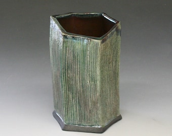 Raku Hexagonal Vase in Emerald Iridescent Colors