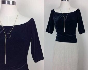 vintage minimalist black velvet top women's size XS/S Made in USA