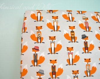 Dapper Fox Baby Bedding Crib Bedding - Orange and Gray Fox Print - Changing Pad Cover or Fitted Crib Sheet