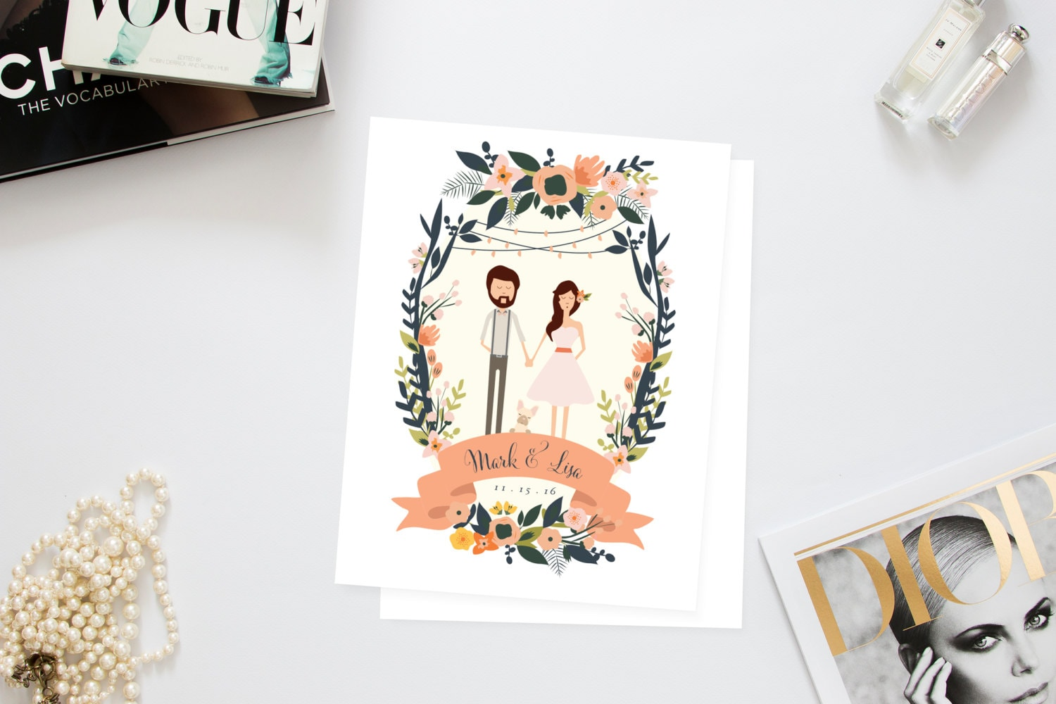 Couples Family Portrait Wedding Invites /// Illustrated