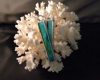 Rectangular Aqua Stained Glass Earrings