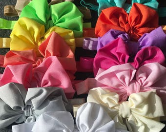 Baby Girl Messy Chiffon Bow Headband Set, Big Bow Headbands, Newborn Bow Headbands, Baby Bows, Messy Bows, Toddler, Little Girl Headbands