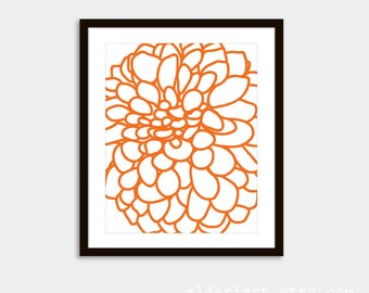 Dahlia Wall Art - Modern Dahlia Print - Tangerine Orange Art - 8x10 - Frames not included - Custom Color